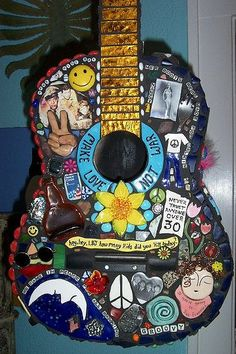 Decade of Peace and Love, mosaic acoustic, art guitar.
