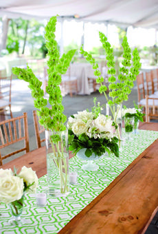 Long vases held bells of Ireland (a nod to the bride's heritage), and bowls were filled with ivory peonies and white ranunculus.  Brides Magazine: Lauren & Steven in Charleston, SC