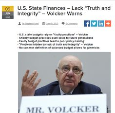 """Highly regarded former chairman of the Federal Reserve, Paul Volcker, has severely criticized the State Governments in the U.S. over """"faulty practices"""" used to devise budgets which mask the true financial position of those states. Volcker Alliance """"The palpable erosion of trust in our democratic institutions of government (- including HOAs who fail in observing rudimentary parliamentary practices according to Robert Rules ? -) demands a response,"""" he was quoted as saying.   image Paul…"""
