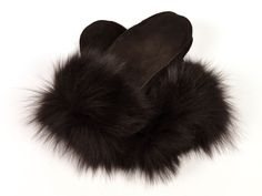 Handmade brown sheepskin mittens for women with fox fur. Soft warm and  breathable Fox Fur ca385c1061a
