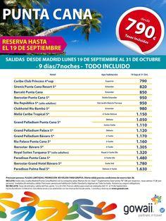 OFERTA- Punta Cana  Salidas Septiembre - Octubre  reservas hasta 19 de…