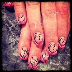 Pink tips with black & white - Nail Art Gallery