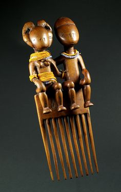 Africa | Wood and glass bead comb from Ghana