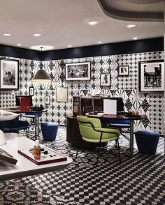 Make an Entrance. The black and white tiled spa at Hotel Molitor Paris, France.