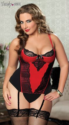 Buy this sexy Plus Size Lace and Stretch Satin Bustier set at Yandy. #Yandy