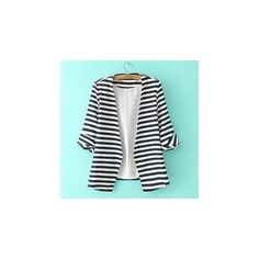 Striped Blazer (€35) ❤ liked on Polyvore featuring outerwear, jackets, blazers, women, striped blazer, stripe jacket, jvl, short-sleeve blazers and striped jacket