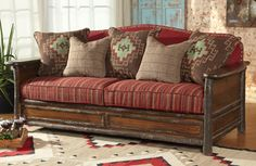 Lodge-style upholstered sofa in hardwood frame Lodge Style, Lodge Decor, Upholstered Sofa, Hand Painted Furniture, Rustic Style, Love Seat, House Design, Couch, Pillows