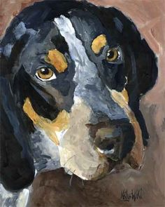 Bluetick Coonhound Art Print of Original Acrylic Painting - 8x10 by dogartstudio on Etsy https://www.etsy.com/listing/52318158/bluetick-coonhound-art-print-of-original