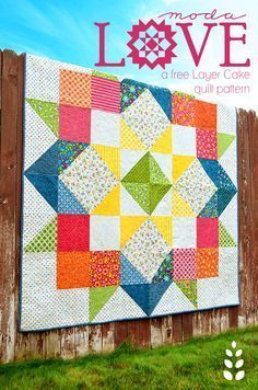 Moda LOVE Free Quilt pattern download. Quilt shown made with Best. Day. EVER! fabric by April Rosenthal for Moda. www.aprilrosenthal.com