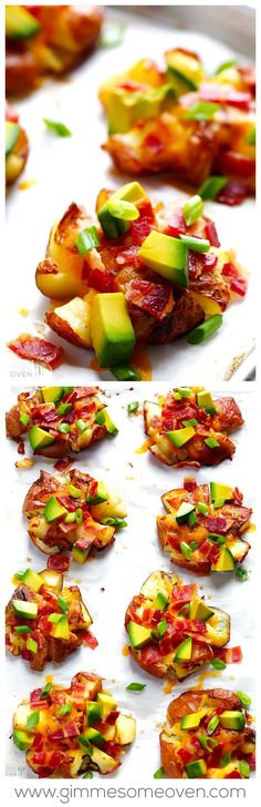 Smashed Red Potatoes -- easy to customize, and perfect for game day! gimmesomeoven.com #superbowl