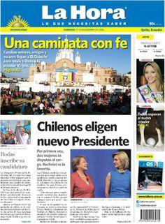 Los temas que se destacan hoy son: - Una caminata con fe. - Chilenos eligen nuevo presidente. - Rodas inscribe su candidatura. - Todos esperan al nuevo cóndor...