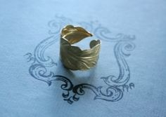 Adjustable Brass Feather Ring by lea