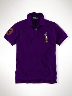 Polo Ralph Lauren Men's Custom-Fit Leather Big Pony Estate Purple W Brown  12066280,