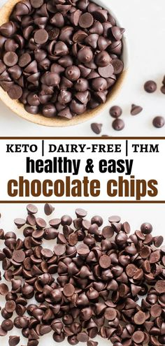 These Homemade Chocolate Chips are special-diet friendly (dairy-free & sugar-free) and soooo much cheaper than the store-bought versions of dairy-free and low-carb chocolate chips! special diet Homemade Chocolate or Carob Chips Chocolate Low Carb, Homemade Chocolate Chips, Homemade Chips, Vegan Chocolate Chips, Sugar Free Chocolate Chips, Chocolate Recipes, Dairy Free Recipes, Low Carb Recipes, Real Food Recipes