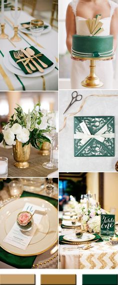 emerald green and gold wedding color combos inspiration