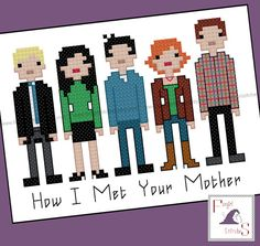 """Today's featured #crossstitch pattern:  Bring your favourite TV show to life with this cross stitch pattern, featuring the 5 stars of """"How I Met Your Mother""""  Fabric size: 9 x 11 inches (14 count aida, 28 count e... #8-bit #sit-com #himym ➡️ http://etsy.me/2hMbV5O"""