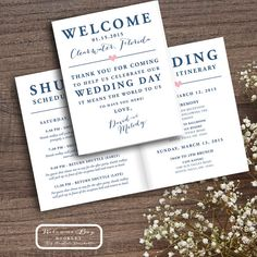 Welcome Letter Weekend Itinerary Wedding Itinerary By Designandpop