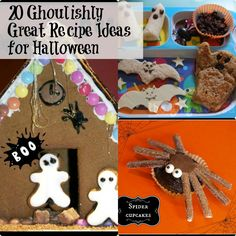 20 Ghoulishly great #Halloween recipes, includes spider cupcakes and a haunted gingerbread house