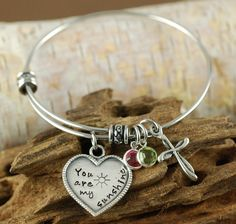You Are My Sunshine Bracelet, Cross Bangle, Personalized Bangle Bracelet, Silver Bangle Charm Bracelet, Birthstone Bangle, Alex & Ani Style by AnnieReh on Etsy