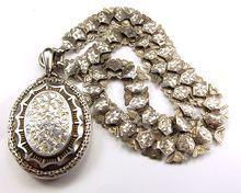 Antique Victorian Silver Book Chain & Locket 1883