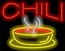 """NEON SIGN CHILI 30"""" WIDE X 24"""" HIGH RED LETTERS WITH A COLORFUL BOWL GRAPHIC"""