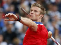 Norway's Andreas Thorkildsen takes a throw in a men's javelin