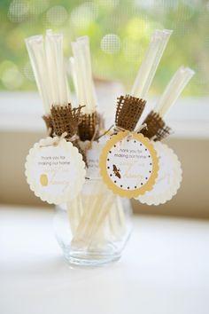 "honey sticks - ""Honey-Themed"" Housewarming Party (many more great ideas here"