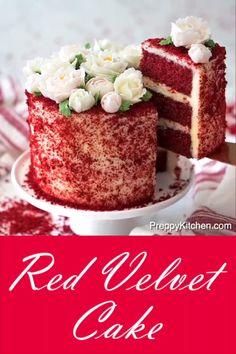 How to bake a red velvet cake preppykitchen redvelvet cake bestcakes redvelvetcake desserts red velvet cake w cream cheese frosting recipe! Easy Homemade Desserts, Easy Chocolate Desserts, Chocolate Cake Recipe Easy, Chocolate Chip Cake, Homemade Cake Recipes, Best Cake Recipes, Chocolate Cream, Red Velvet Chocolate Cake, Chocolate Cupcakes