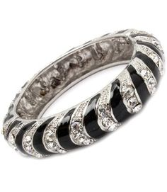 Amazon.com: Black & Clear Pave Crystal & Rhinestone Hinged Elegant Designer Bangle by Jersey Bling: Jewelry