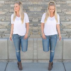 Michelle Basics- white tee {$22}, Modern Opus Jade Triangle Necklace, Triangle Y-necklace {$28} Call (303)-955-7452 to order! We ship! #Basics