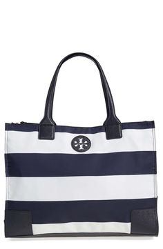 28e417e1ad6f5 Tory Burch Tory Burch  Ella  Stripe Packable Nylon Tote available at   Nordstrom Navy