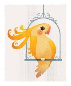 Yellow Birdie Mini Print by britsketch, $12.00