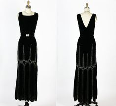 1930s 20s  30s Antique Vintage Screen Siren Beaded Rhinestone Silk Velvet Plunging Party Dress