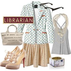 """""""librarian chic"""" by kalukalay on Polyvore"""