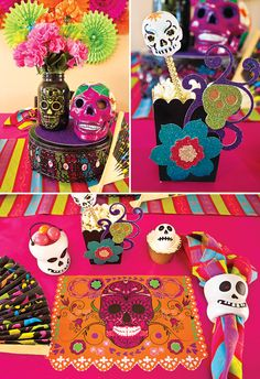 Day of the Dead Party Decor Ideas | Que ideas tan coloridas y alegres para decorar una fiesta inspirada en el Día de los Muertos