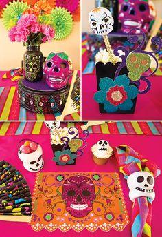 Day of the Dead Party Decor Ideas   Que ideas tan coloridas y alegres para decorar una fiesta inspirada en el Día de los Muertos