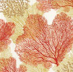 Caspari Sea Fans Coral Marine Life Printed 3-Ply Paper Luncheon Napkins Wholesale 11330L
