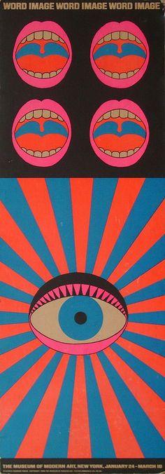 """word image"" Exhibition Poster, MoMA, Designed by Tadanori Yokoo, 1968"
