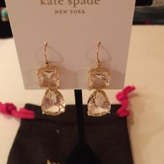 NWT Kate Spade Wow Double Drop Earrings Firm$ Stunning! 2 Sizable Prism Clear Drops! 14k Gold Plated Nickel Free! Reflects the light to change colors! Elegant for Day, Dress or Hanging Out. Total Drop Approx 1.34 inches. No Trades No Low Offers as I will decline. These earrings are timeless and classy! Comes with Dust Bag. kate spade Jewelry Earrings