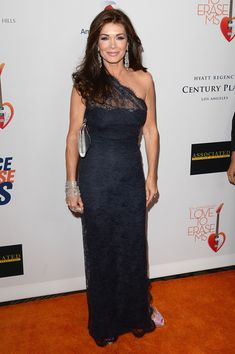 Lisa Vanderpump One Shoulder Dress - Lisa Vanderpump wore a navy lace gown for a super classic and elegant look on the red carpet.