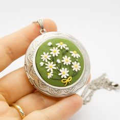 """ModelinaClayStories on Instagram: """"New model! Vintage style locket necklace with daisies."""""""