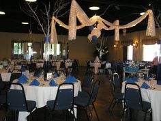 White and Blue Reception Reception Decorations, Event Decor, Table Decorations, Ceiling Decor, Ceiling Lights, Tree Branch Centerpieces, Color Themes, Tree Branches, Wedding Events