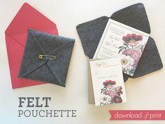 Grab the FREE pouchette template! Felt Pouchette DIY Wedding Invitation   Download & Print