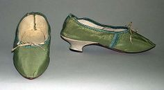 Shoes, 1770-89. European, silk, leather, linen. Length, 8 in. MMA, 1985.369a, b