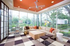 Sunroom With Tangerine Ceiling That Matches Well The Floor Coverings For This Lovely Paint Colors