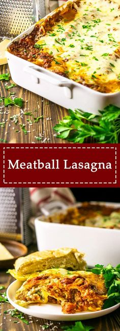 Your Search For The Best Lasagna Recipe Ever Is Over This Meatball Lasagna Is Filled With Tender Meatballs, Gooey Mozzarella And Creamy Ricotta. You Can Make This Lasagna Recipe Fresh Or Turn It Into A Make Ahead Lasagna For An Easy Entertaining Recipe. Meatball Lasagna, Meatball Pasta Bake, Meaty Lasagna, Best Lasagna Recipe, Yummy Pasta Recipes, Easy Dinner Recipes, Beef Recipes, Dinner Ideas, Cooking Recipes