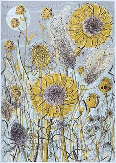 Angie Lewin - Autumn Garden, Norfolk - screen print : Printmaker to remember Angie Lewin, Art And Illustration, Illustrations, Norfolk, Yorkshire Sculpture Park, Wild Poppies, Autumn Garden, Wood Engraving, Mellow Yellow