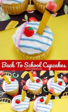 Adorable Back to School Cupcakes for the kids. Great for as last day of school cupcakes as well. OHMY-CREATIVE.COM | back to school cupcakes recipes | apple cupcakes | back to school treats back to school cupcake ideas | end of school cupcakes #schoolcupcakes #schooldesserts #backtoschool #cupcakes #schooltreats Cheesecake Desserts, No Bake Desserts, Easy Desserts, Cheesecake Strawberries, Cupcake Recipes, Cupcake Ideas, Dessert Recipes, Apple Cupcakes, Cupcake Cookies