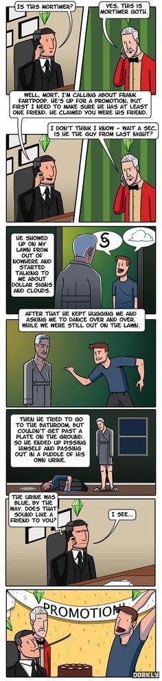 The Sims Career Ladder. Jeg ler så jeg griner.