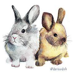 Bannies illustration Rabbit, Illustration, Animals, Art, Bunny, Art Background, Rabbits, Animales, Animaux